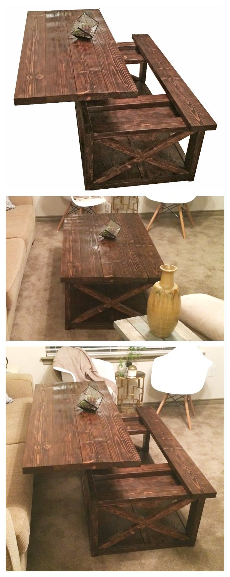 Lift top coffee table DIY – Rustic X coffee table with a lift top.