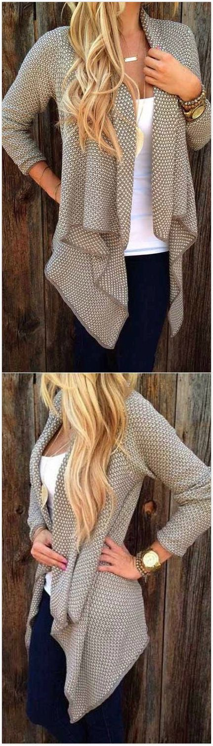 Only $33.99! Casual Coat Open Grey Knit Cardigan 2016 Street. Search more at chicn