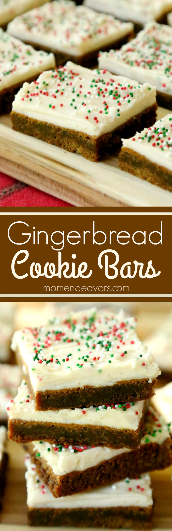 Soft & chewy gingerbread cookie bars with cream cheese frosting! A delicious C