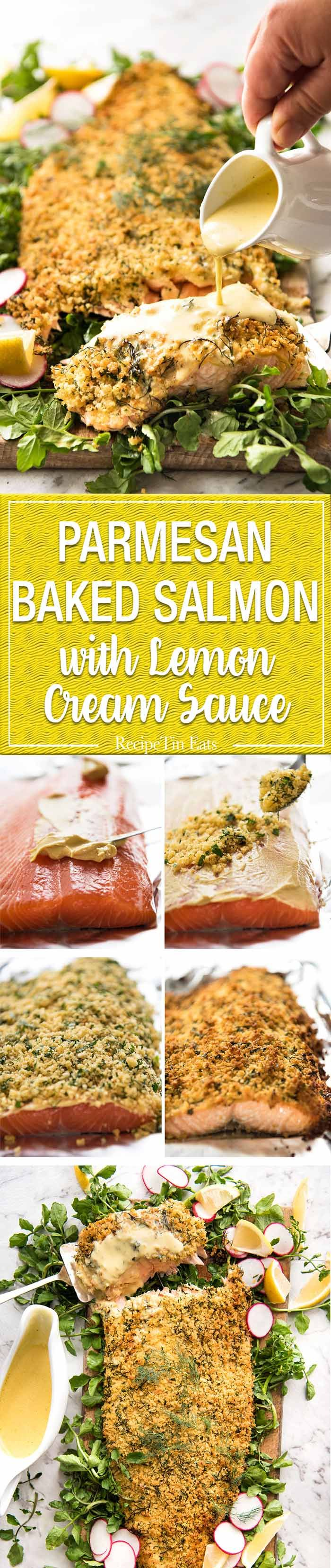 Baked Parmesan Crusted Salmon with Lemon Cream Sauce – easy and fast to make, can