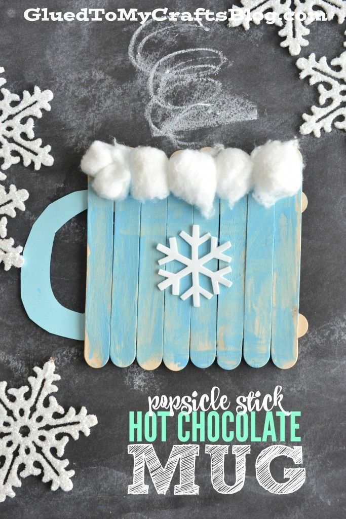 Popsicle Stick Hot Chocolate Mug Kids Craft. Keep the kids entertained during wint