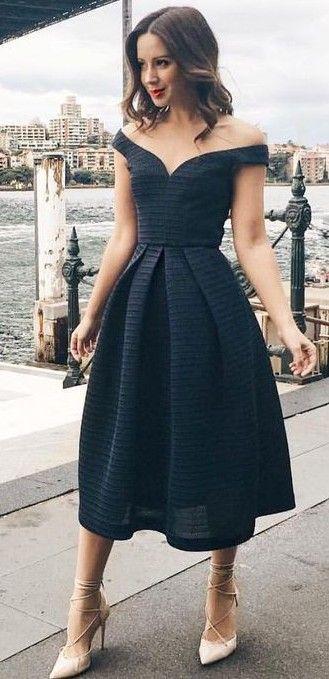 Off The Shoulder Midi Black Dress
