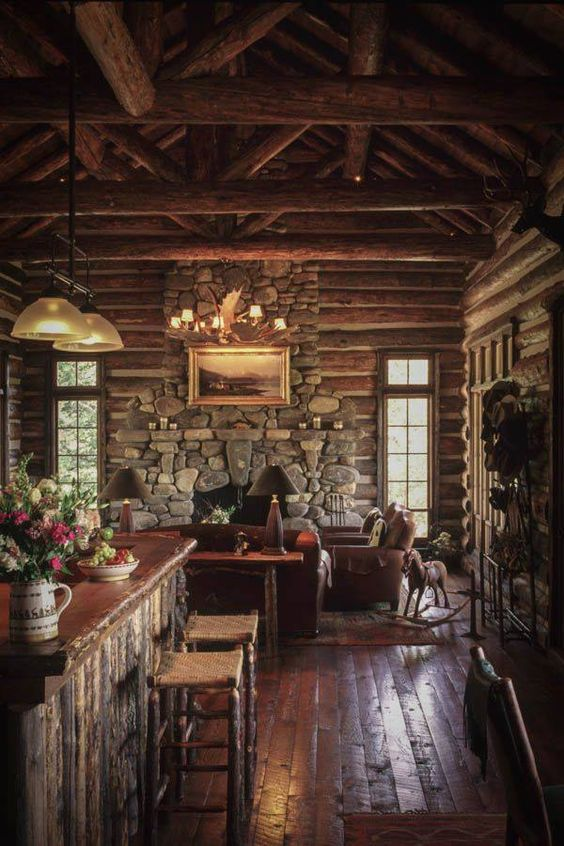 CABIN Rustica Collection ~ The best part of a Rustic Cabin is the Stone Fireplace,