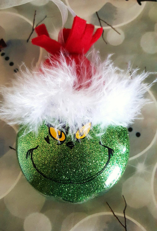 Grinch Ornament, Mr. Grinch, Christmas, The Grinch, Ornaments, Glitter…