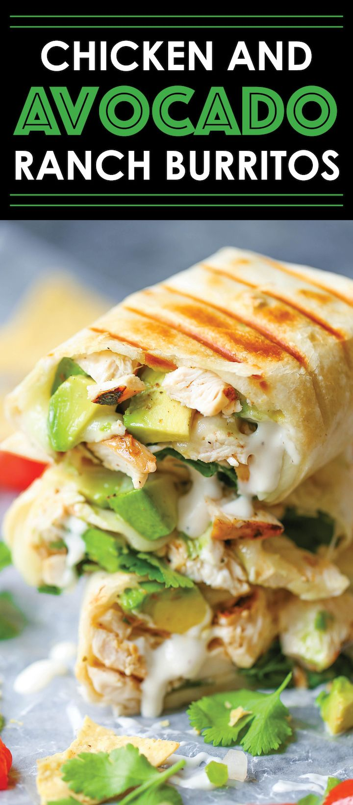 Chicken and Avocado Ranch Burritos – These come together with just 15 min prep! Yo