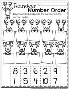 Preschool Counting Worksheets for December – Reindeer Number Order.