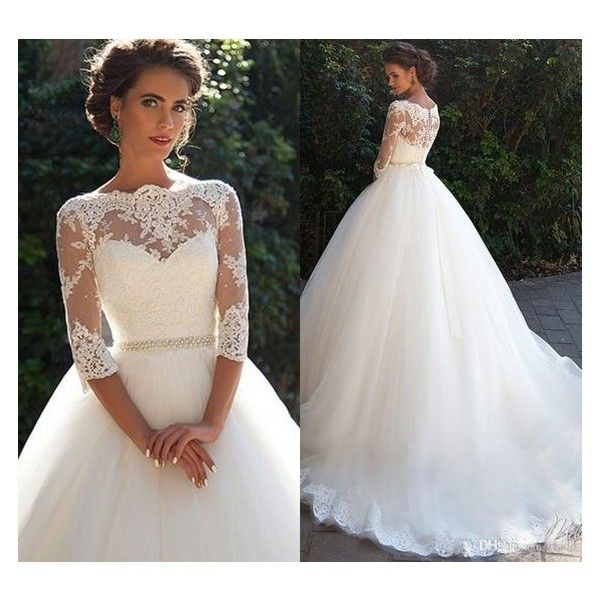 Vintage Lace 3/4 Long Sleeve Ball Gown Wedding Dresses Milla nova 2016… ❤ like
