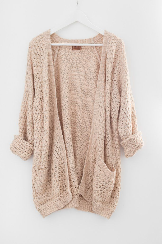 Chunky open front knit cardigan Large front pockets Oversized and slouchy fit Long