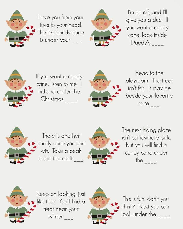 East Coast Mommy: Elf on the Shelf – Candy Cane Scavenger Hunt {free printable clu