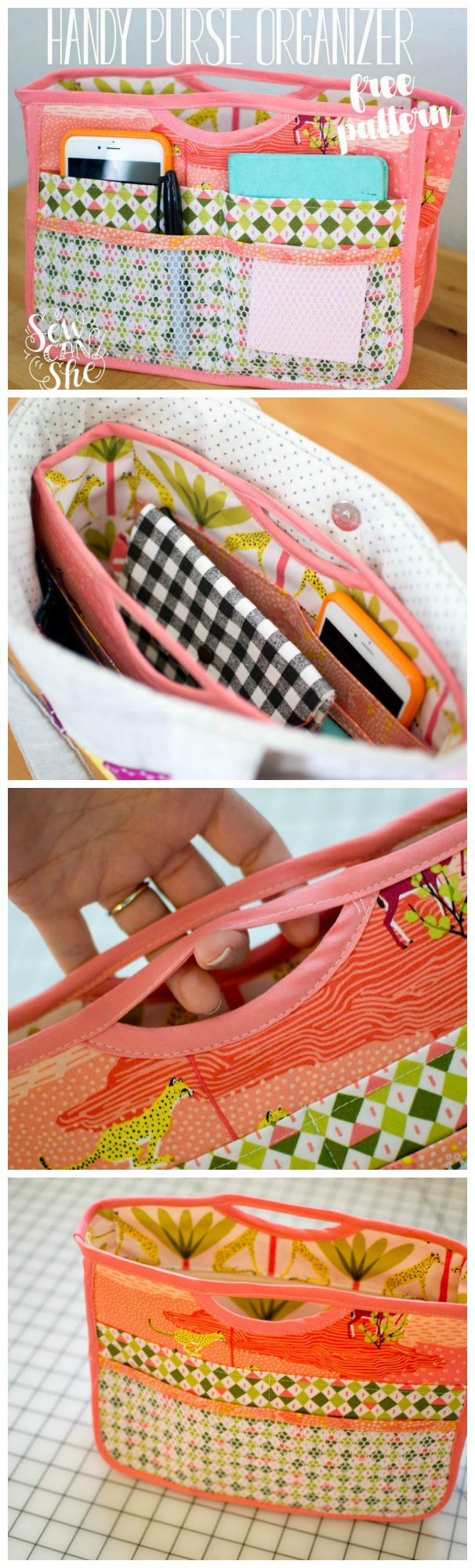 Free sewing pattern for this smart purse organizer. I love using these to transfer