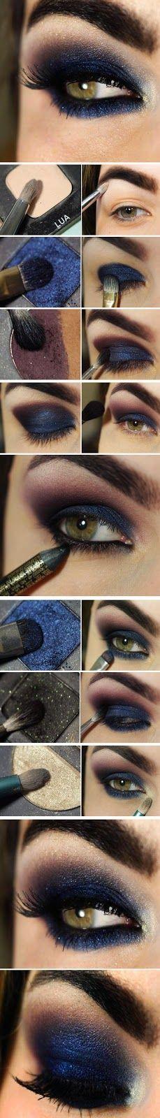 DIY Navy Blue Eye Makeup