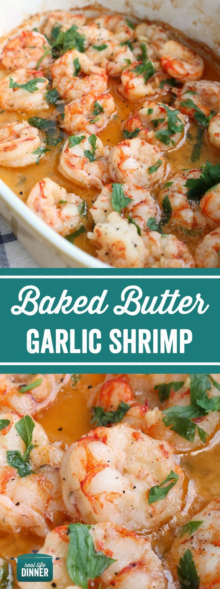 Quick and easy Baked Butter Garlic Shrimp, perfect on there own or delicious tosse