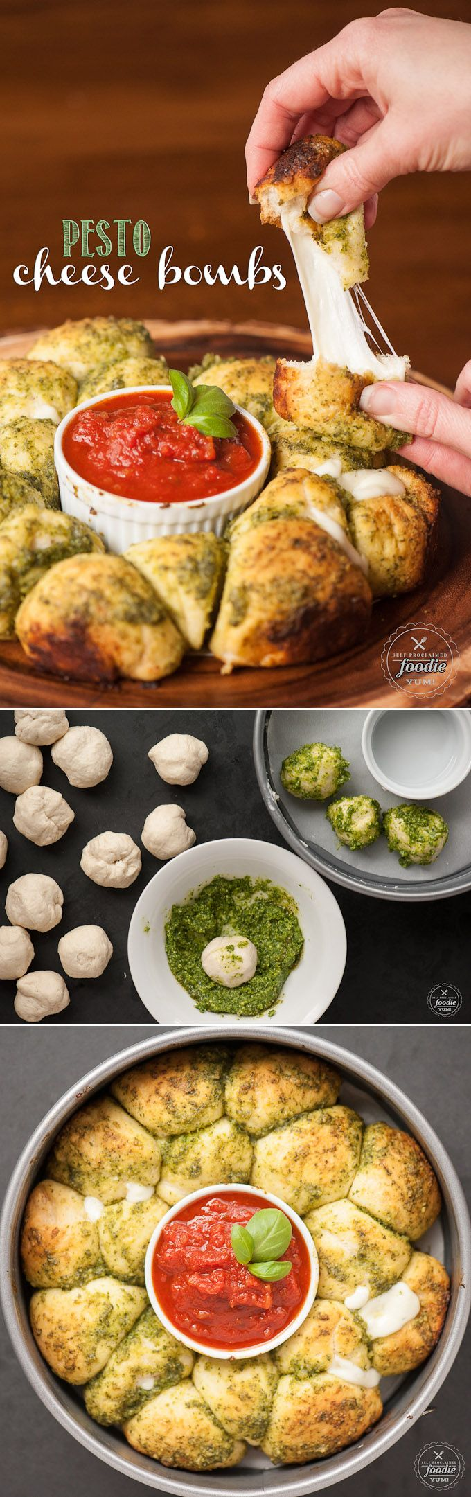 Ooey gooey melty Pesto Cheese Bombs with marinara sauce are super easy to make and