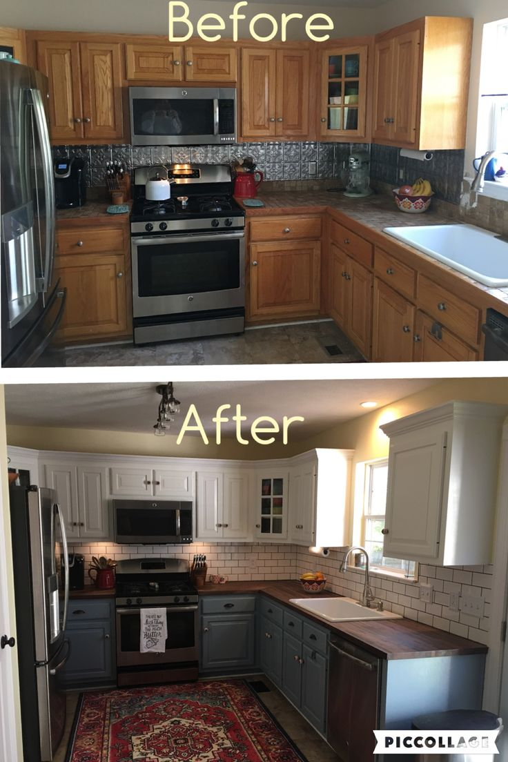 Two toned cabinets. Valspar Cabinet Enamel from Lowes = Successful kitchen updatin