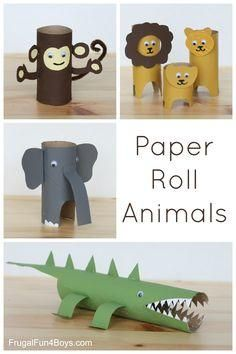 These simple toilet paper/paper towel roll animals are fun for kids and make for s