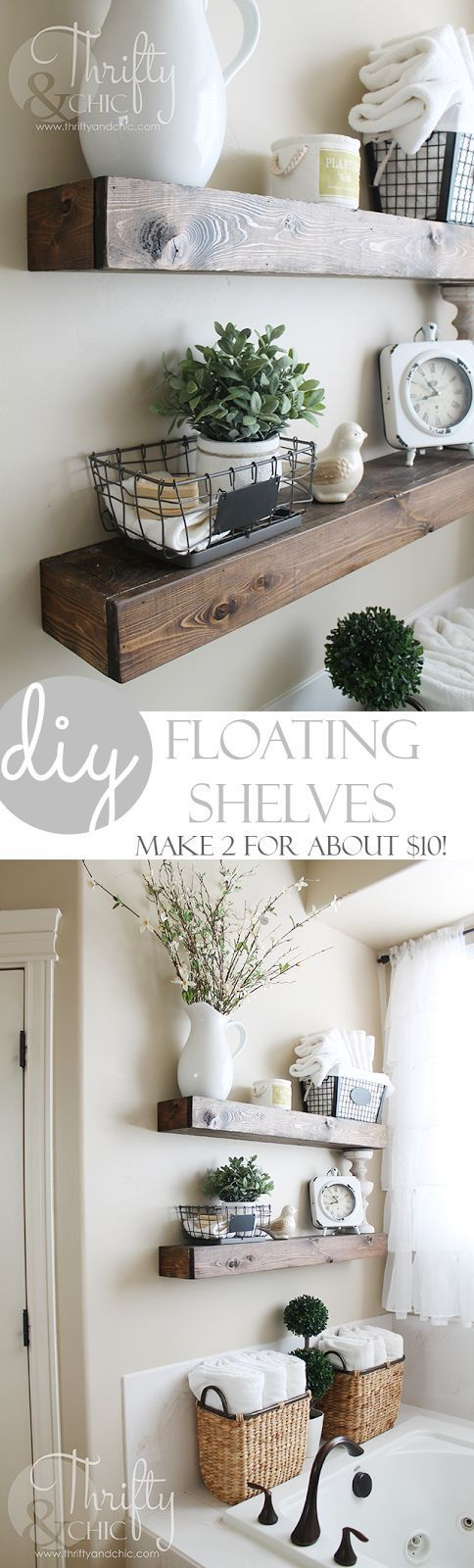 DIY Floating Shelves just like the ones from Fixer Upper! Make 2 of these for abou