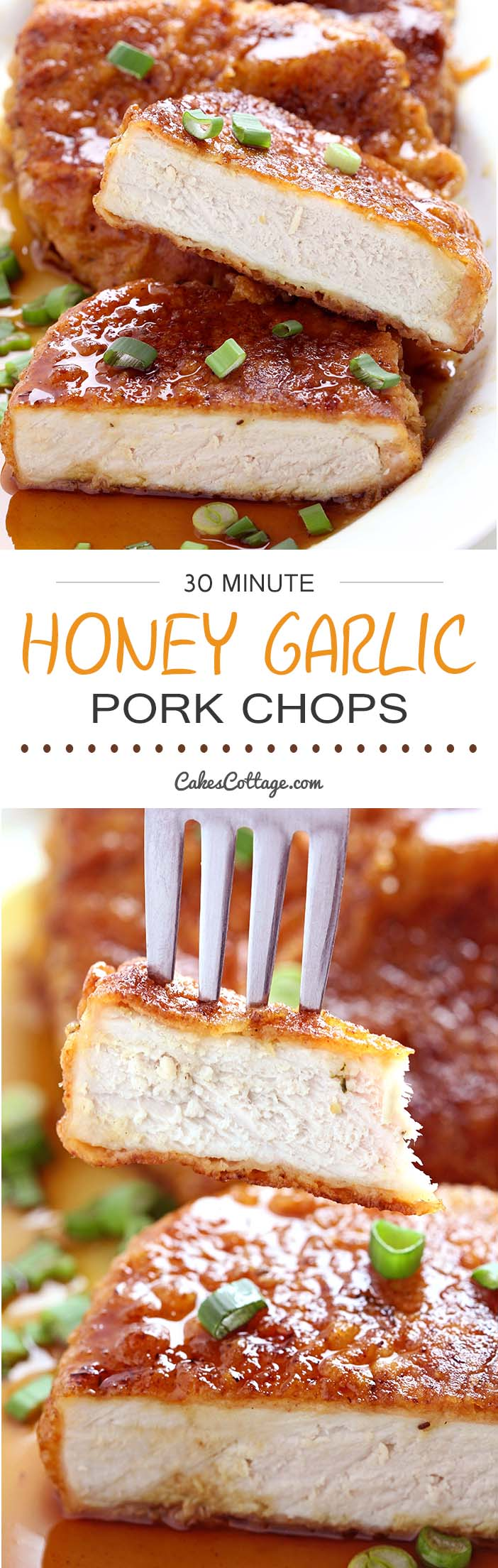 Double dipped and deliciously crunchy pork chops, coated in a sticky honey garlic