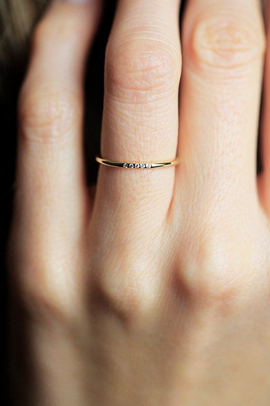 Thin Gold Diamond Ring Pave Diamond Band Thin by MinimalVS