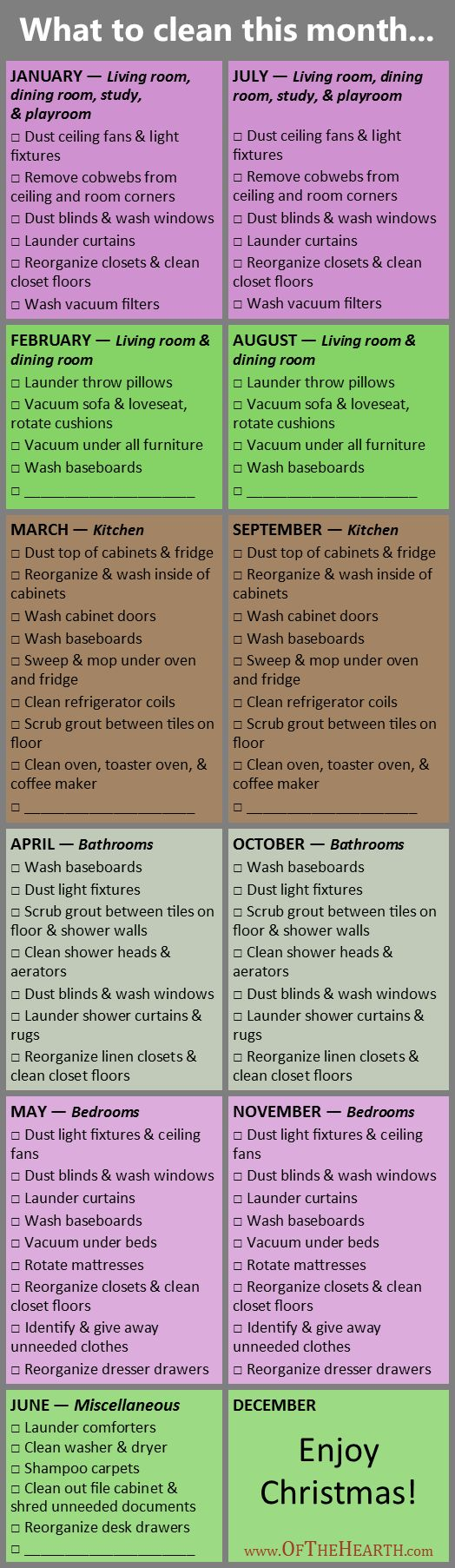 Deep Cleaning Schedule 2016 | My rotating cleaning schedule has created order in m