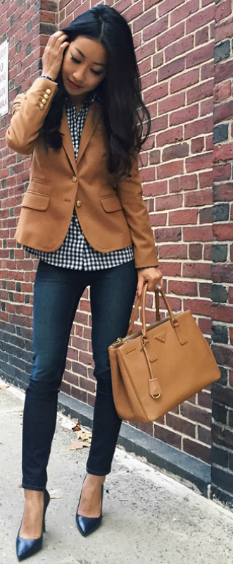 Jean Wang + denim jeans + heels + cute brown blazer + casual and stylish + perfect