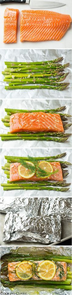 Baked Salmon and Asparagus in Foil – this is one of the easiest dinners ever, it tastes amazing, its perfectly healthy and clean