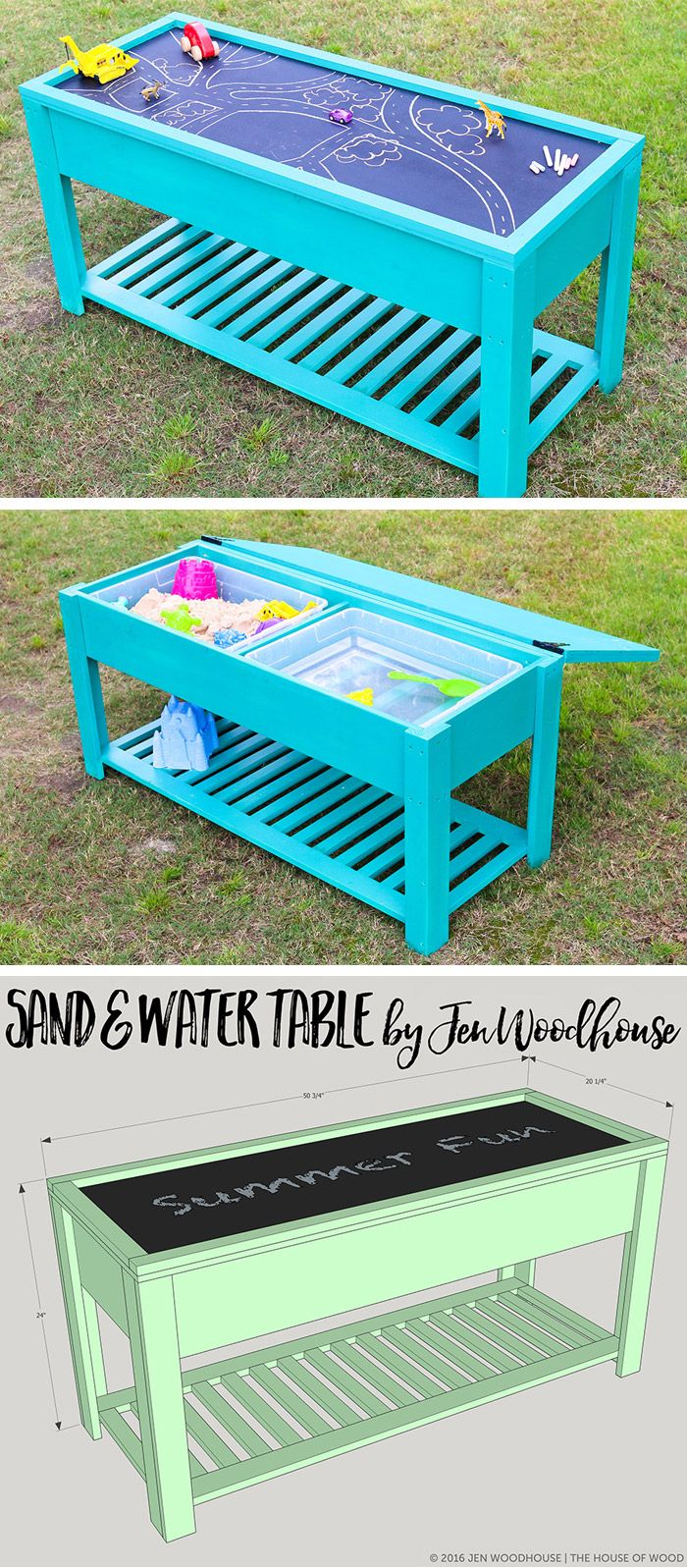 Learn how to build a fun DIY sand and water table for your kids! Free plans by Jen