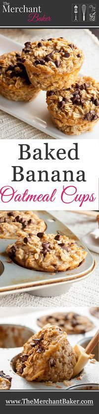 Baked Banana Oatmeal Cups. A hearty and healthy oatmeal that you can make ahead. Baked in individual cups so they're an easy