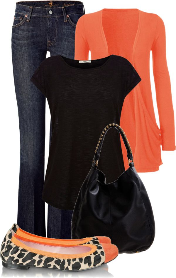 """""""Orange and Black"""" by maizie2020 on Polyvore I have that cardigan in bla"""