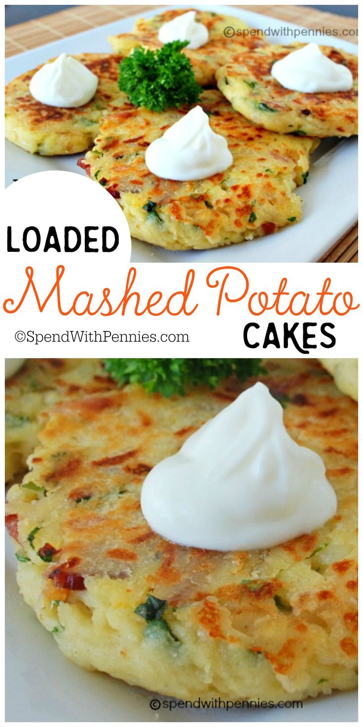 Loaded Mashed Potato Cakes!  These are an amazing way to use up mashed potatoes…  and you can add so many delicious things to