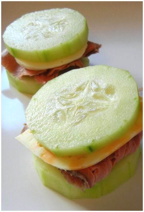 Great idea for SuperBowl Snack… Talk about a low carb diet! These delicious cucumber sandwiches are the perfect snack to cure