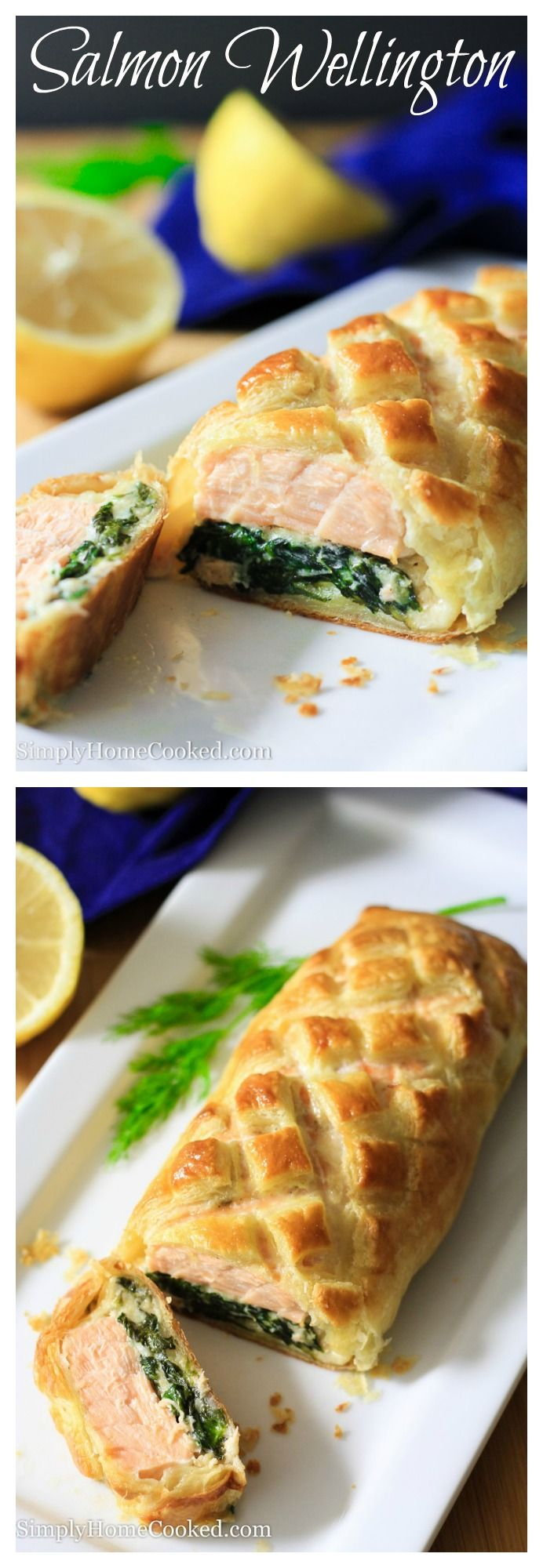 Seasoned salmon placed on a bed of cheesy sauteed spinach, wrapped in puff pastry,