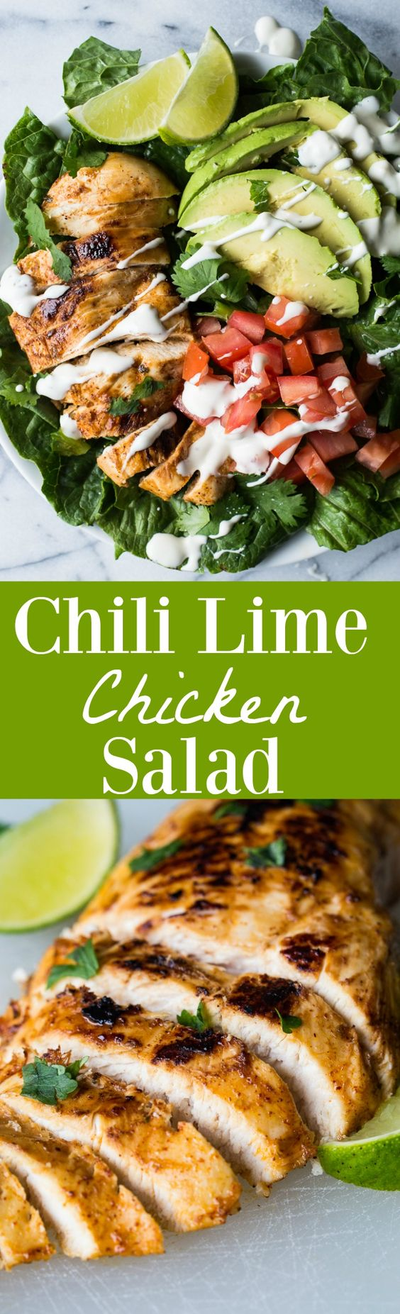 This tender, juicy, zesty chili lime chicken is perfect for topping your salad!