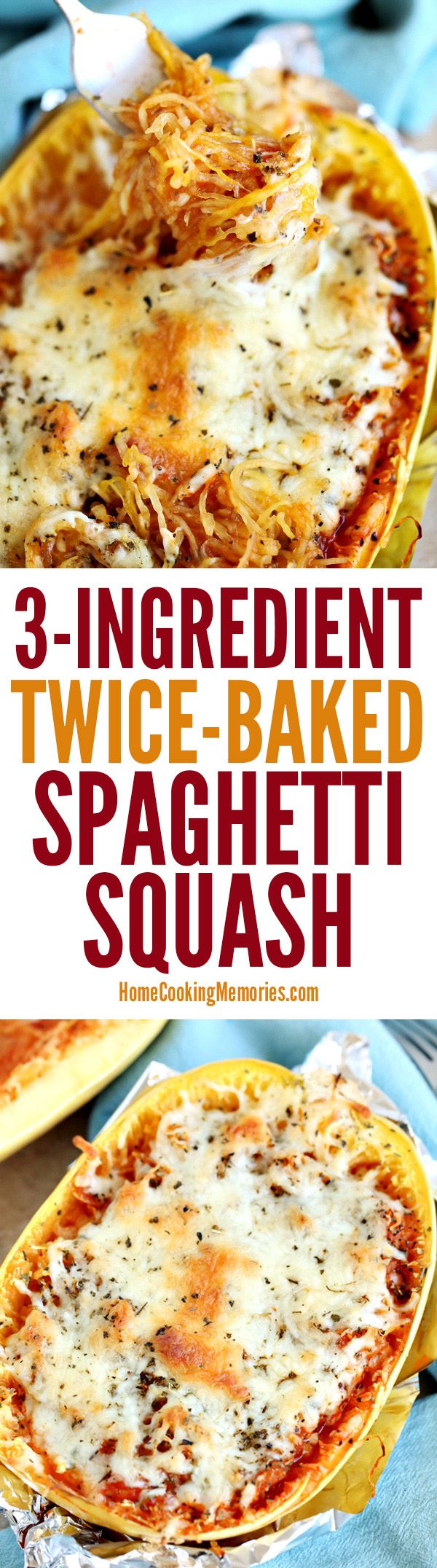 This Twice-Baked Spaghetti Squash recipe is an easy dinner idea that only needs 3-ingredients: spaghetti squash, mozzarella