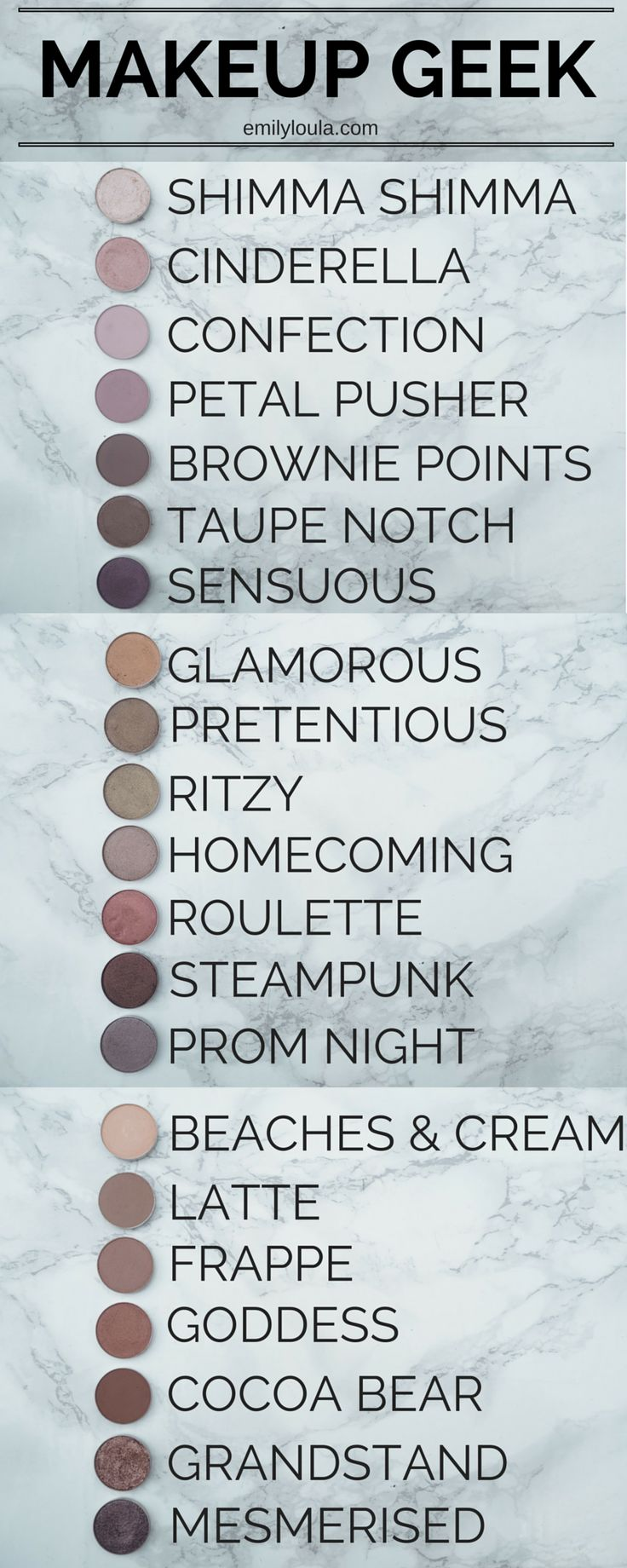 Makeup Geek Eyeshadow Individual pan collection ft. shimma shimma, cinderella, confection, petal pusher, brownie points, taupe