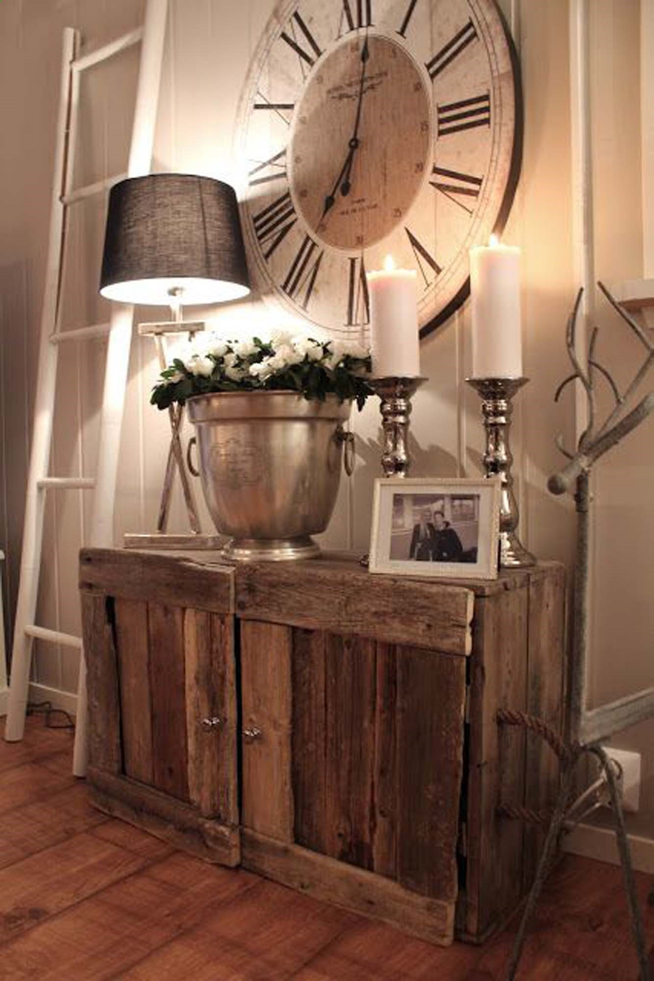 This is fabulous! The rustic cabinet and the HUGE clock, love it! Ive been eyeing