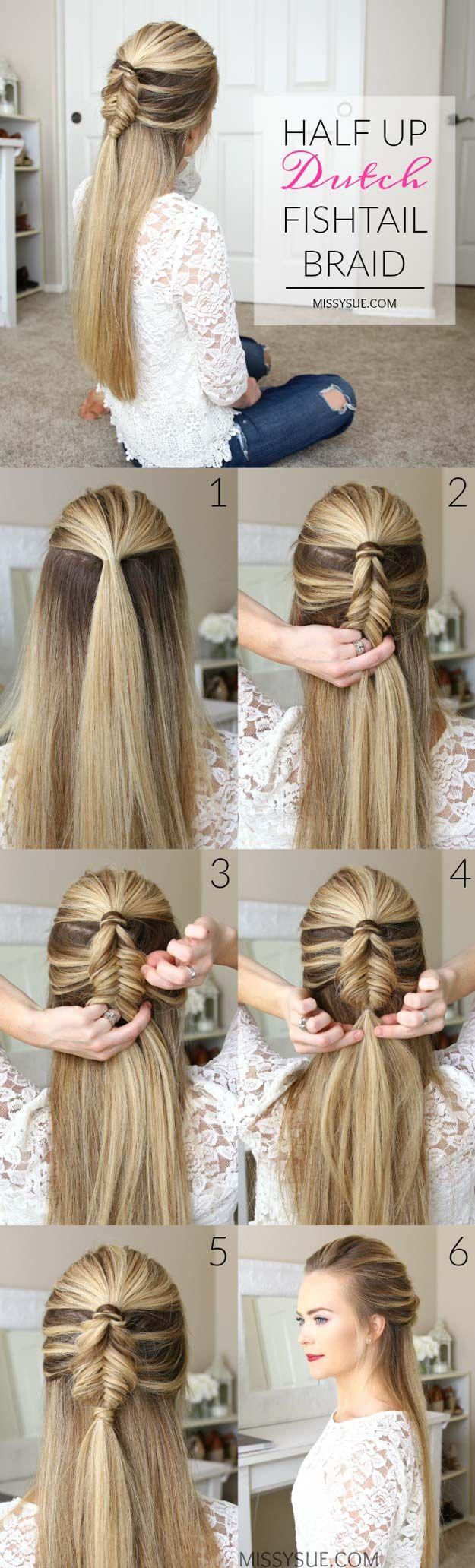 Best Hair Braiding Tutorials – Half Up Dutch Fishtail Braid – Easy Step by Step Tutorials for Braids – How To Braid Fishtail,