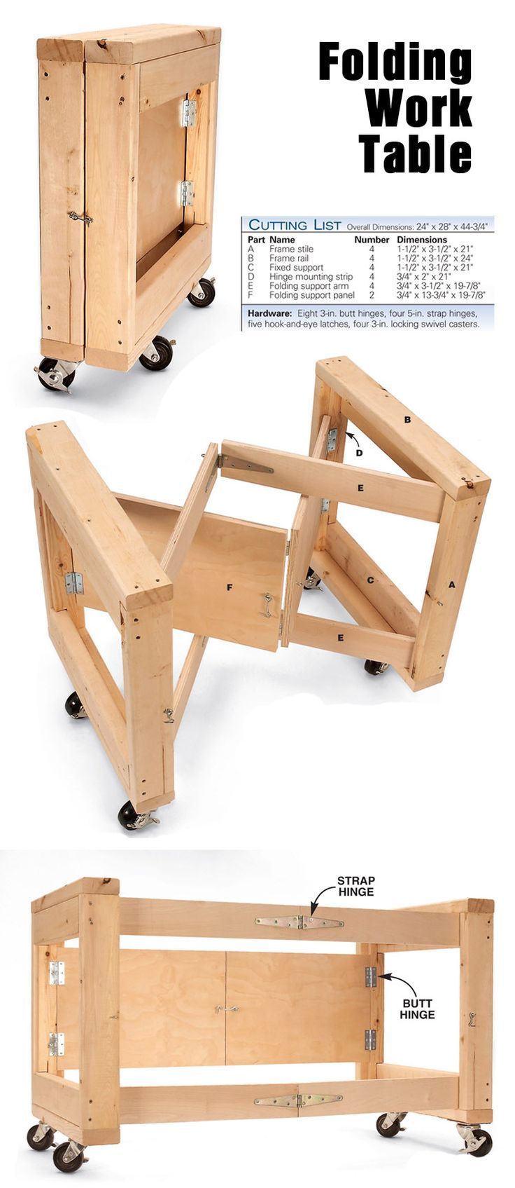 Space Saving Folding Work Table www.popularwoodwo…: