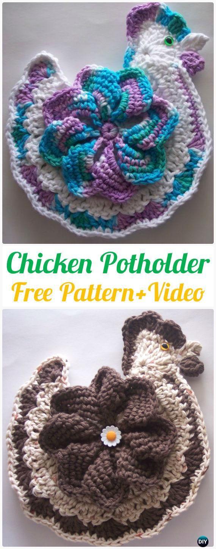 Crochet ChickenPotholder FreePattern+Video – #Crochet Pot Holder Hotpad Free Patterns