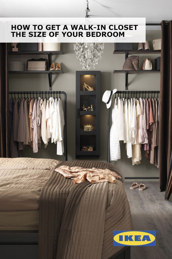Create a walk-in closet the size of your bedroom with IKEA curtains, rolling clothes racks and display cabinets! Find out how to