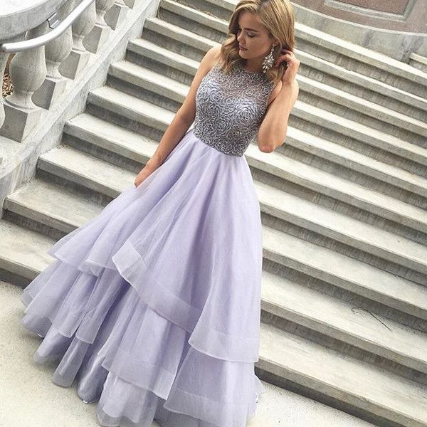 $174.89 Beading Tiers Ball Gown Organza Prom Dresses 2017