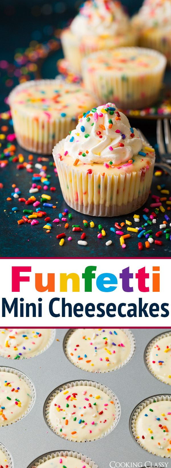 Funfetti Mini Cheesecakes – these are seriously delicious! Taste just like funfetti cake + the goodness of cheesecake.