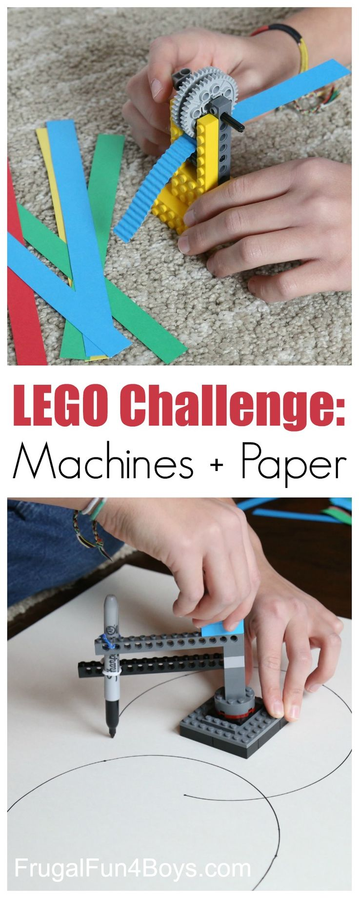 LEGO Building Challenge: Machines + Paper.  How to build a working LEGO paper crimper and a machine that draws circles.  Great