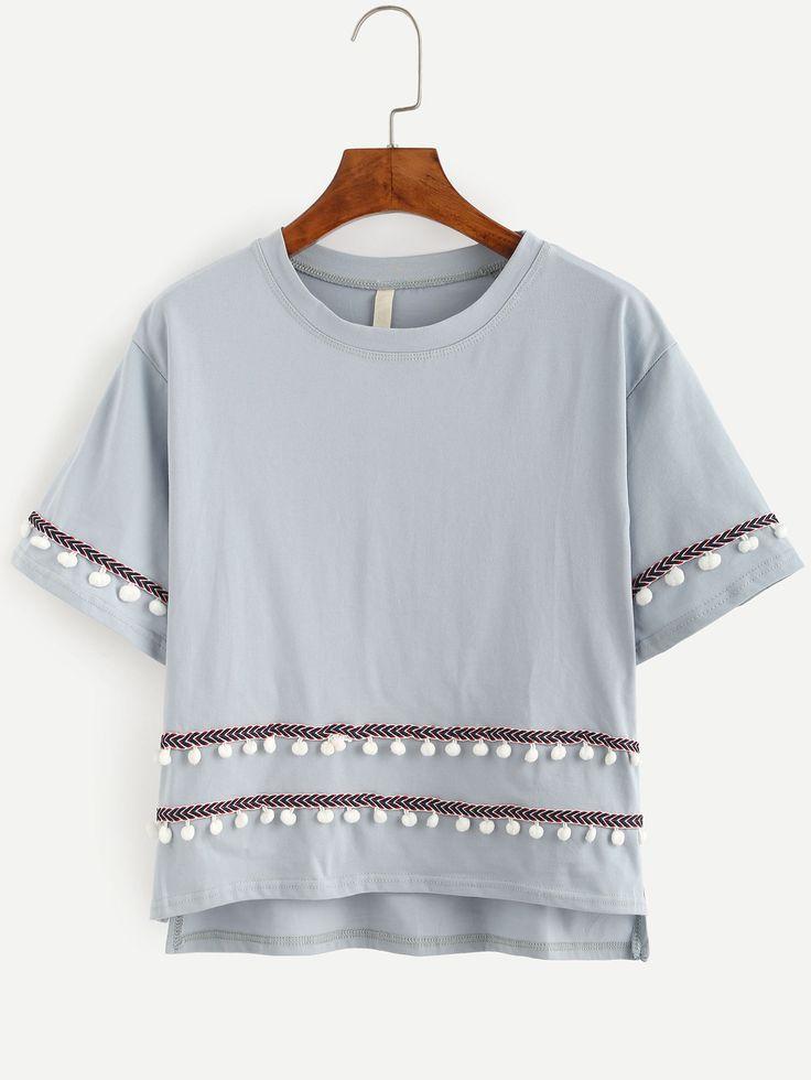 Grey Embroidered Tape Detail Pom Pom T-shirt.