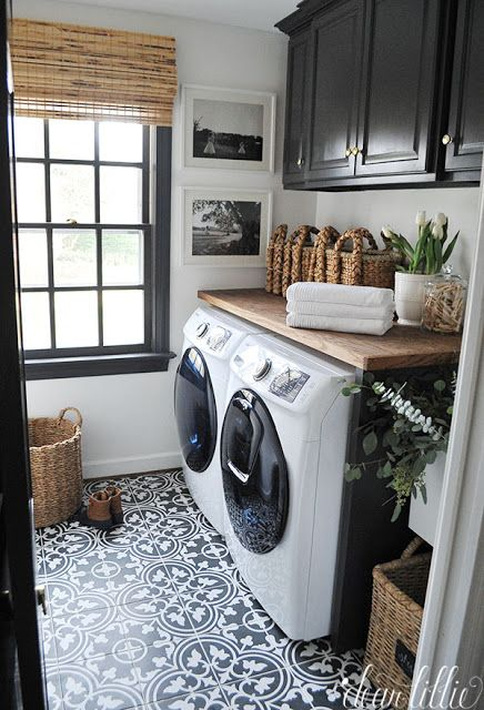 I am excited to show you our newly updated laundry room! I am especially excited about the new tile floor from our sponsor, Joss