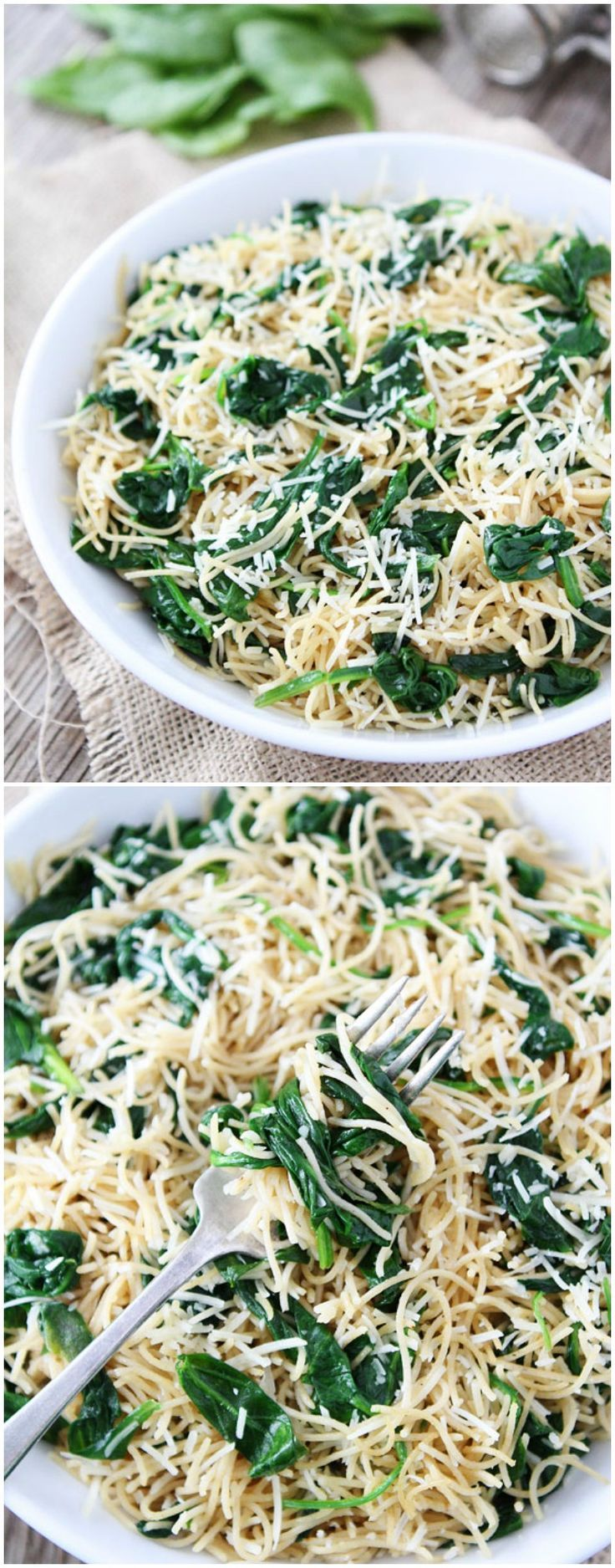 5-Ingredient Spinach Parmesan Pasta Recipe on twopeasandtheirpo… Love this quick and easy pasta dish!