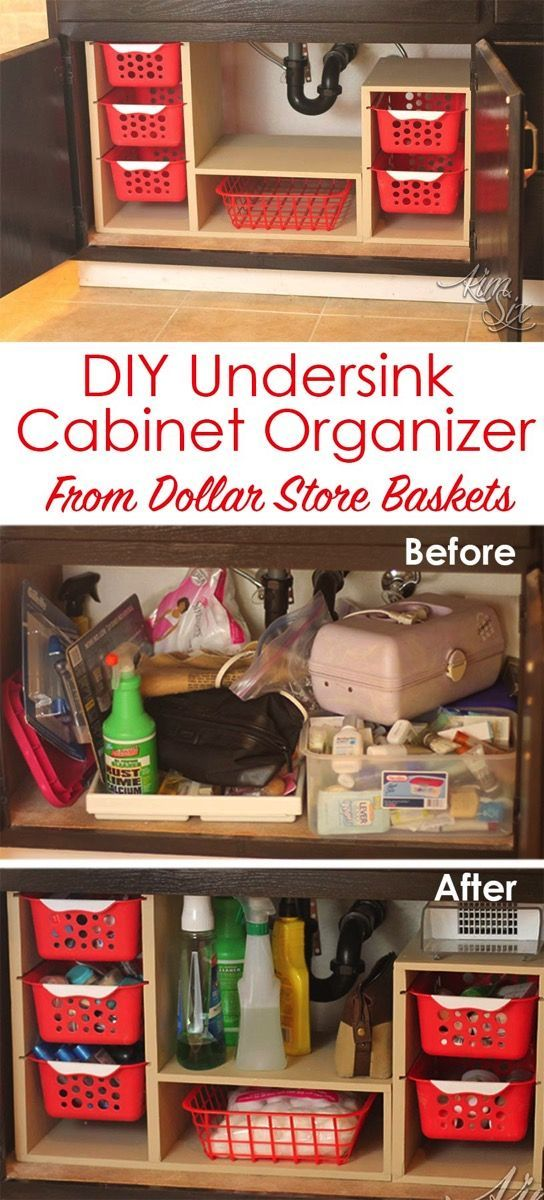 From a single sheet of plywood and some dollar store bins she built this fabulous organizer. What a great way to use all that