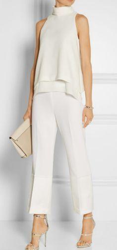 – Everly silk chiffon-trimmed crepe top DESIGNER : ELIZABETH AND JAMES – Satin-trimmed crepe wide-leg pants DESIGNER : Theory –