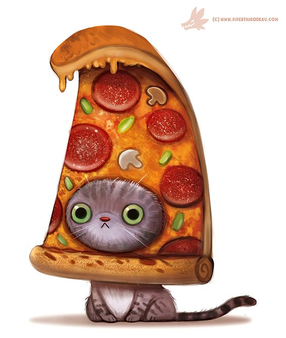 Daily Paint #1103. Pizza Cat by Cryptid-Creations… on @DeviantArt
