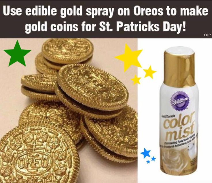 Use edible gold spray on Oreos to make gold coins for St. Patricks Day!  Would also work for geld at Christmas/Hanukkah!