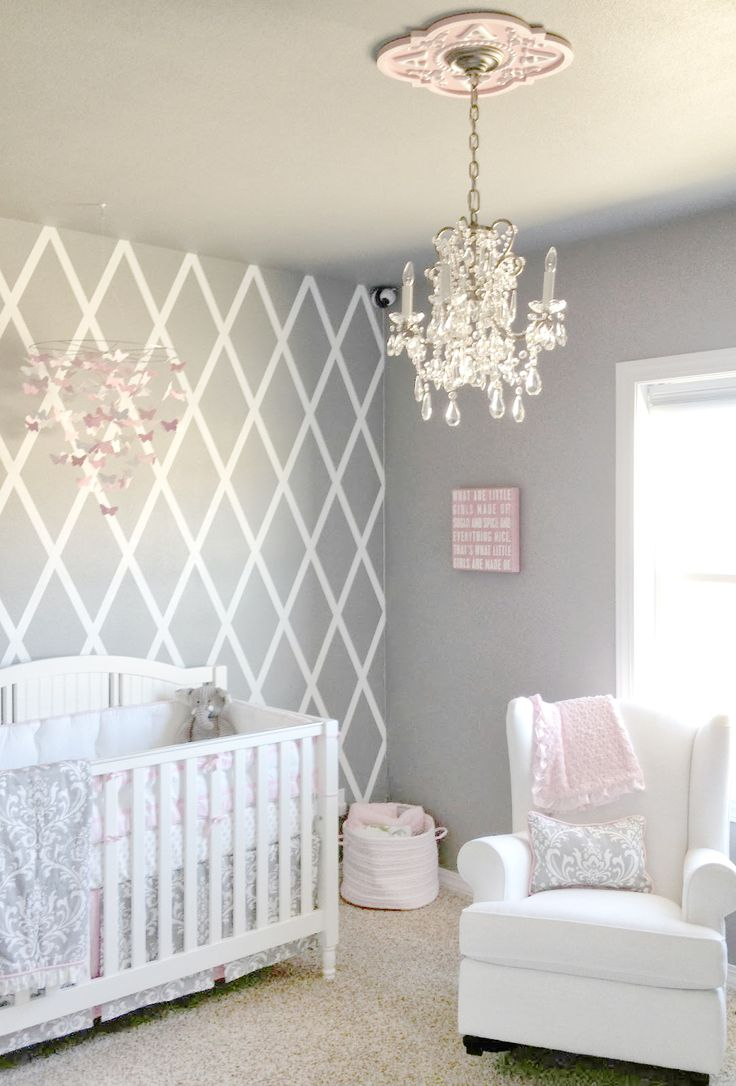 Beautiful gray and pink nursery features our Stella Gray Baby Bedding Collection! So pretty for a baby girls nursery!